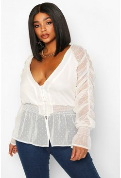 Womens White Plus Dobby Mesh Chiffon Ruched Blouse