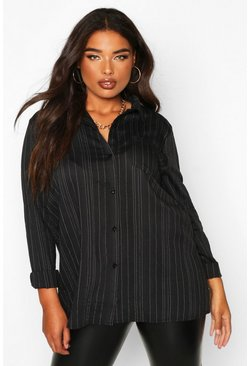 Womens Black Plus Woven Stripe Shirt