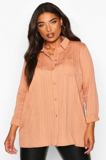 Womens Terracotta Plus Woven Stripe Shirt
