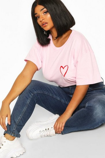 Womens Pink Plus Heart Pocket Print T-Shirt