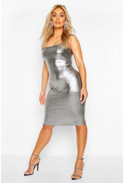 Womens Black Plus Metallic Square Neck Midi Dress