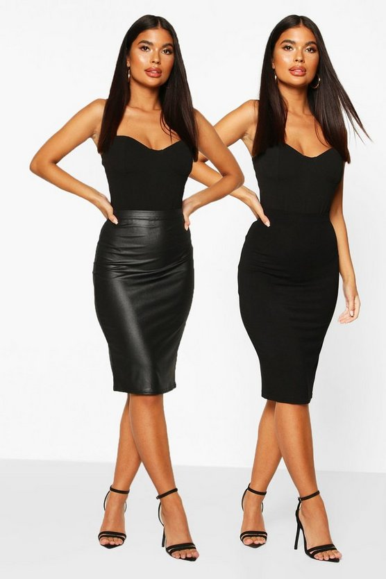 Black Petite 2 Pack Leather Look and Jersey Midi Skirt