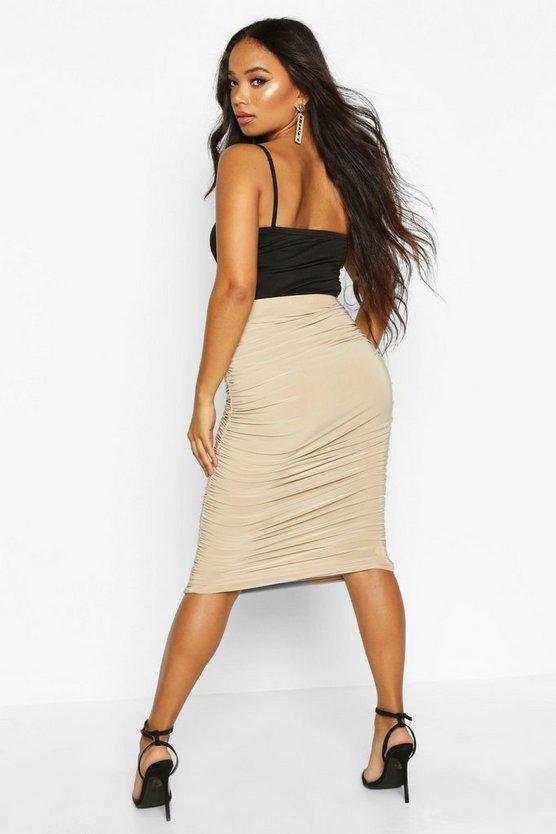 Petite Ruched Slinky Midi Skirt