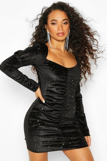 Black Petite Glitter Velvet Ruched Volume Skirt Dress