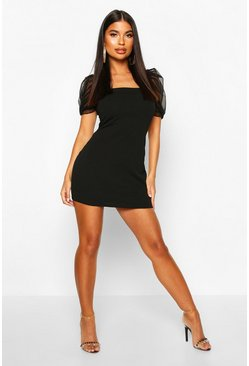 Black Petite Square Neck Mesh Sleeve Mini