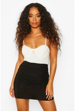 Dam Black Petite Ruched Slinky Mini Skirt