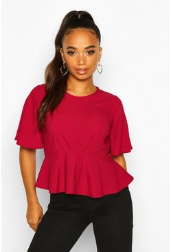 Berry Petite Angel Sleeve Ribbed Top