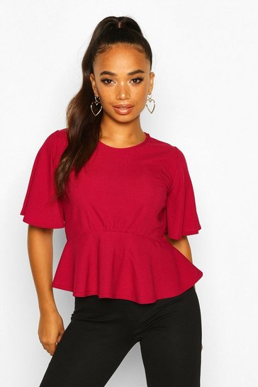 Womens Berry Petite Angel Sleeve Ribbed Top