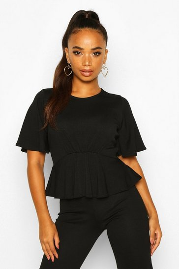 Black Petite Angel Sleeve Ribbed Top