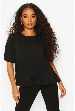 Dam Black Petite Ribbed Puff Sleeve Smock Top