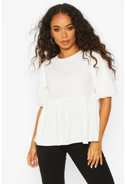 Ivory Petite Ribbed Puff Sleeve Smock Top