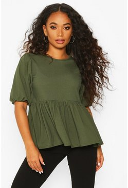 Womens Khaki Petite Ribbed Puff Sleeve Smock Top