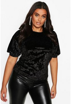 Black Plus Puff Sleeve Crushed Velvet Top