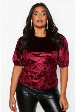 Wine Plus Puff Sleeve Crushed Velvet Top
