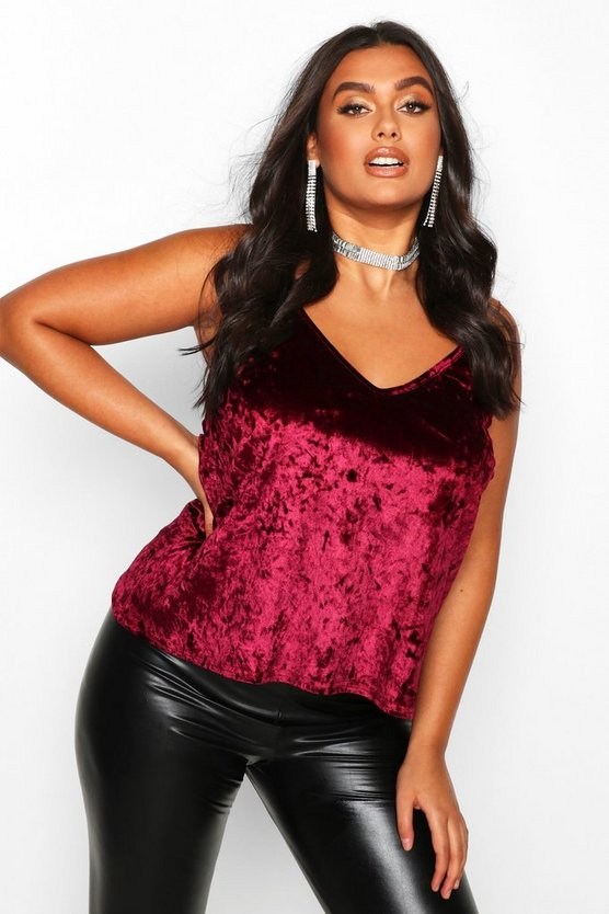 Plus Crushed Velvet Cami Top