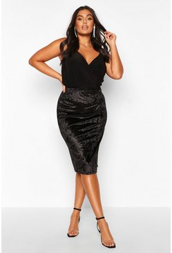 Black Plus Crushed Velvet Midi Skirt