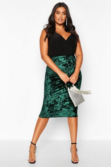 Womens Emerald Plus Crushed Velvet Midi Skirt