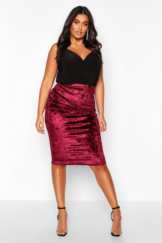 Wine Plus Crushed Velvet Midi Skirt