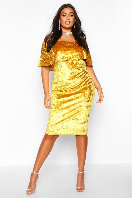 Mustard Plus Crushed Velvet Bardot Ruffle Midi Dress