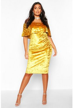 Mustard Plus Crushed Velvet Off The Shoulder Ruffle Midi Dress