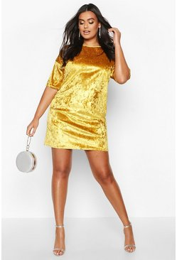 Womens Mustard Plus Oversized Crushed Velvet T-Shirt Dress