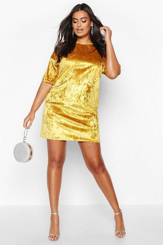 Plus Oversized Crushed Velvet T-Shirt Dress