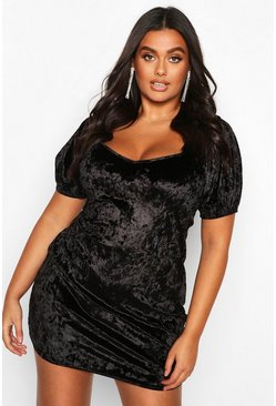 Black Plus Puff Sleeve Crushed Velvet Plunge Mini Dress