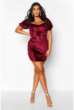 Womens Wine Plus Puff Sleeve Crushed Velvet Plunge Mini Dress