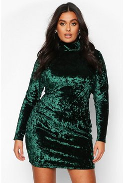 Womens Emerald Plus High Neck Crushed Velvet Bodycon Dress