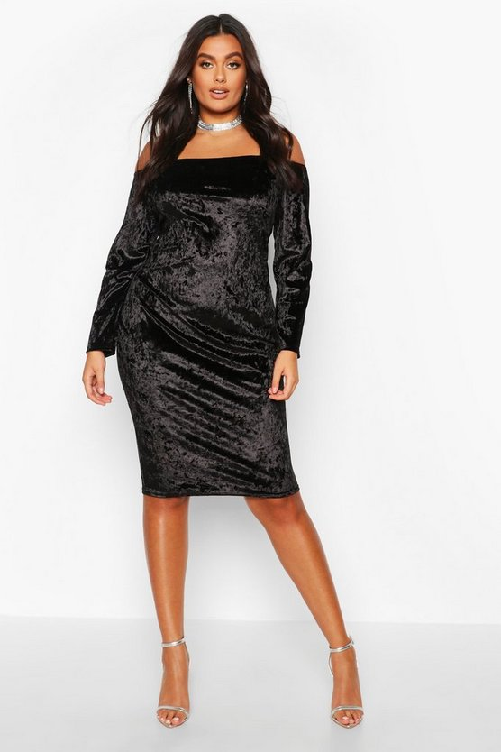 Black Plus Bardot Crushed Velvet Midi Dress