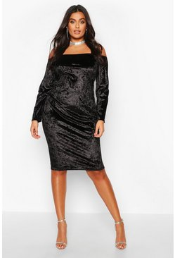 Womens Black Plus Bardot Crushed Velvet Midi Dress