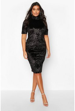 Womens Black Plus High Neck Crushed Velvet Midi Dress