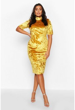 Mustard Plus High Neck Crushed Velvet Midi Dress