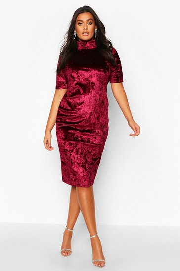 Wine Plus High Neck Crushed Velvet Midi Dress