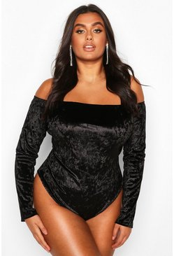 Womens Black Plus Bardot Velvet Bodysuit