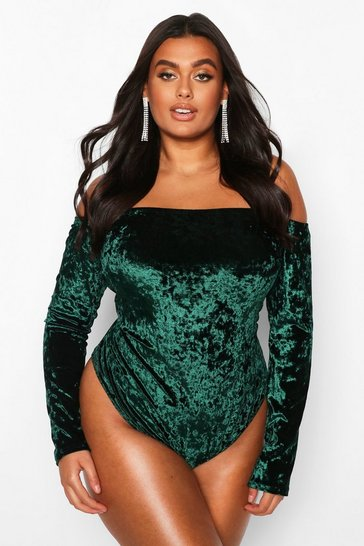 Emerald Plus Bardot Velvet Bodysuit
