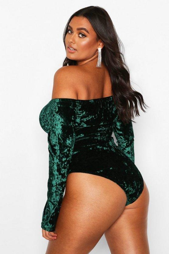 Plus Bardot Velvet Bodysuit