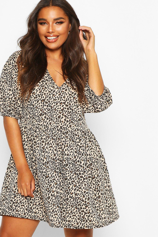 womens plus leopard puff sleeve sweat smock dress - beige - 12