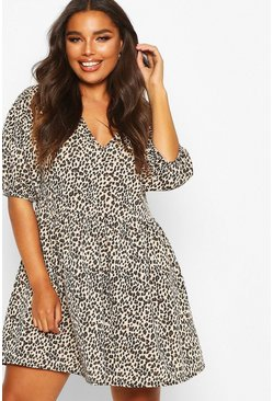 Womens Stone Plus Leopard Puff Sleeve Sweat Smock Dress