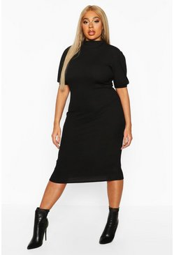 Womens Black Plus Rib High Neck Puff Sleeve Midi Dress
