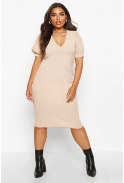 Womens Stone Plus Puff Sleeve V Neck Midi Dress
