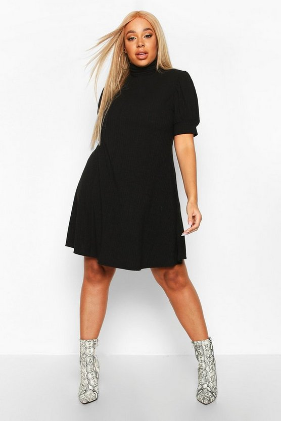 Black Plus Soft Rib Puff Sleeve Swing Dress
