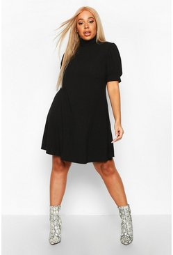 Womens Black Plus Soft Rib Puff Sleeve Swing Dress
