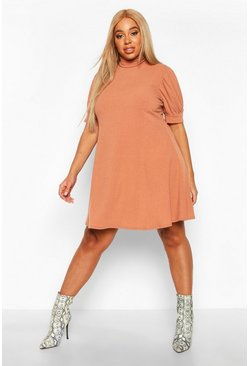 Camel Plus Soft Rib Puff Sleeve Swing Dress