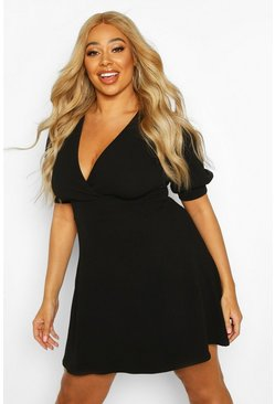 Womens Black Plus Puff Sleeve Skater Dress