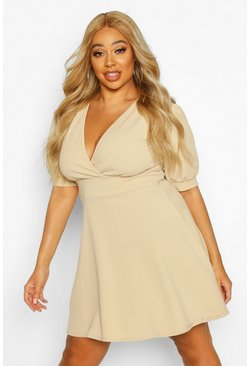 Stone Plus Puff Sleeve Skater Dress