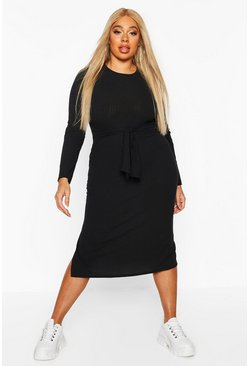 Black Plus Soft Rib Tie Front Midi Dress