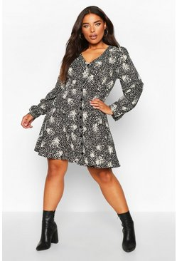 Womens Black Plus Floral Button Detail Skater Dress