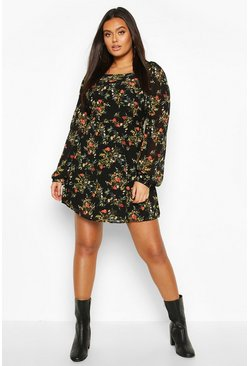 Womens Black Plus Floral Chiffon Puff Sleeve Skater Dress