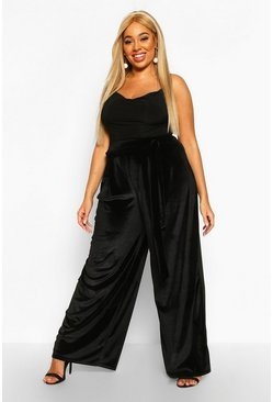 Womens Black Plus Tie Waist Velvet Wide Leg Trousers